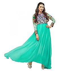 Parabdhani Fashion Women's Chanderi Semi Stitched Suit (PBF_DM_12_Green_Free Size)