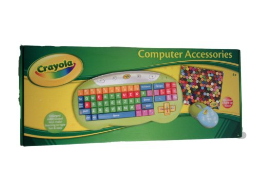Crayola Keyboard 3 Piece Set Light-Up Mouse And Mouse Pad Included Enlarged Color Coded Keys Makes It Easy To Learn To Type
