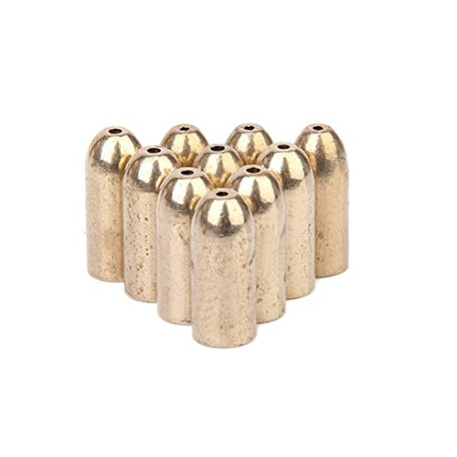 Tinksky 10pcs Copper Bullet Shape Fishing Tackle Weights Bass Lures Fishing Accessories (Golden)
