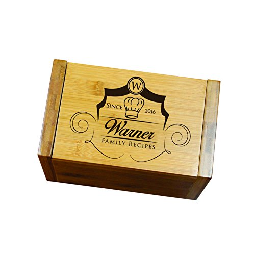 Engraved Recipe Box 4x6 Card Holder - Personalized Custom Gifts For Mom - Kitchen Cooking Gift 3