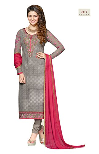 silver embroidered georgette unstitch chudidar salwar kameez