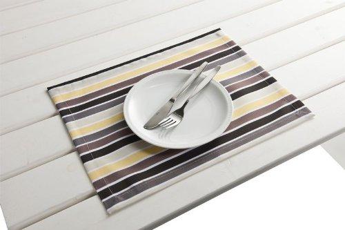 """4 Stück Outdoor TISCHSET """"Antibes gelb-grau"""" Placemat Gartentisch Tisch- Platzset abwaschbar 30cmx40cm jetzt bestellen"""