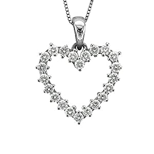 14k White Gold Heart Diamond Pendant Necklace (0.45 Carat)