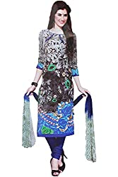 Majaajan Women's Cotton Self Print Unstitched Salwar Suit Ethnic Dress Material (PRT1904, Blue and Grey, Freesize)