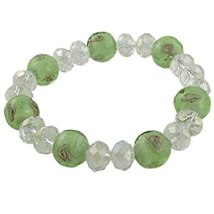 woman ladies clear faceted beads green fluorescent bracelet stretch bracelets jewelry. Black Bedroom Furniture Sets. Home Design Ideas