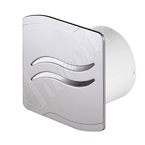 """aspiratore bagno con timer e umidostato 4 """"100 millimetri argento con strisce lucide d'argento"""