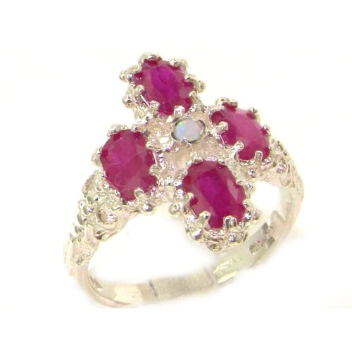 Heavy Weight Victorian Design Solid Sterling Silver Natural Ruby & Fiery Opal Ring - Size 12 - Finger Sizes 5 to 12 Available - Suitable as an Anniversary ring, Engagement ring, Eternity ring, or Promise ring