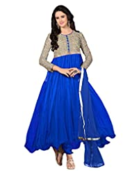 Women's Embroidered Royal Blue & Beige Net Semi Stitched Party Wear Suit