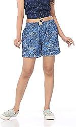 Abony Women's Blue Denim Short (Size:XXL)