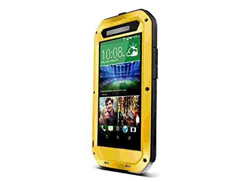 Queens® Waterproof Case Cover For Htc One E8, Aluminum Hard Metal Corning Gorilla Glass Shockproof Dustproof Snowproof Water Resistant Protective Case For Htc One E8 (1-Yellow Queens Case Cover For Htc One E8) front-186585