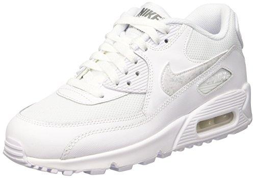 Nike Air Max 90 Mesh (Gs) Scarpe da ginnastica, bambini, Bianco (White/White-Cool Grey), 36 1/2