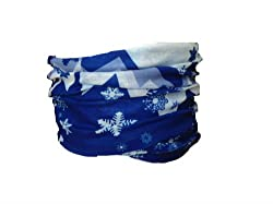 Multifunction Neckwarmer, Snood, Hat, Scarf and Hood in Blue snow boarder print by Monogram