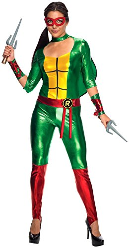 Raphael Ladies Fancy Dress Teenage Mutant Ninja Turtles Womens Adults Costume - XS, S, M, Large