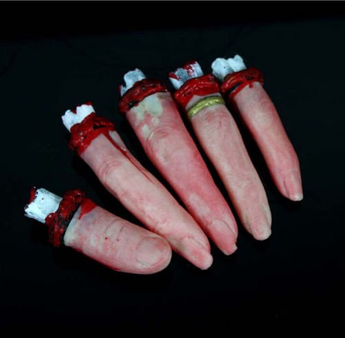Estone Bloody Severed Chopped Off Fingers Chop Halloween Party Prop Decorations 5 pcs (Life Size Severed Hand)