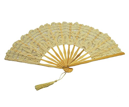 Metable Women's Cotton Embroidered Lace Fan Victorian Style Bamboo Stem Folding Hand Fan for Wedding Bridal (Ivory) (Folding Fan Making Supplies compare prices)