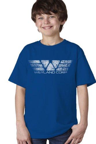 Weyland Corportaion Youth T-Shirt / 80S Sci Fi Horror Film Fan Tribute Tee-Blue-X-Large