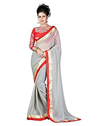 Madhav Fashion Designer House Fashionable Grey Chiffon Saree
