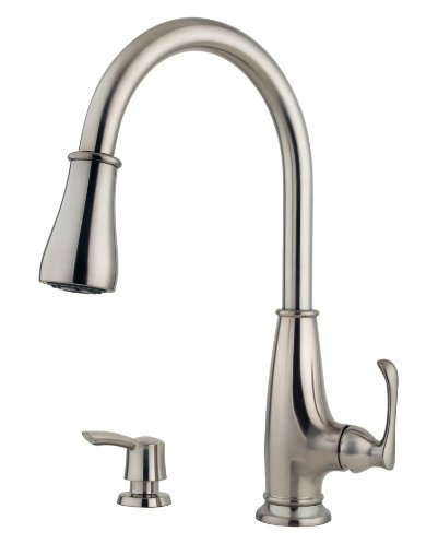 Pfister Ainsley 1-Handle 1, 2, 3 or 4-Hole Pull-Down Kitchen Faucet w/Soap Dispenser in Stainless Steel