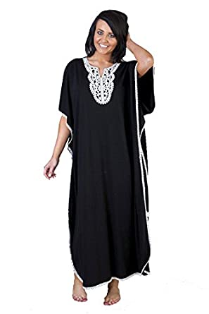 Camille Women's Womens Ladies Embroidered Long Length Black Kaftan
