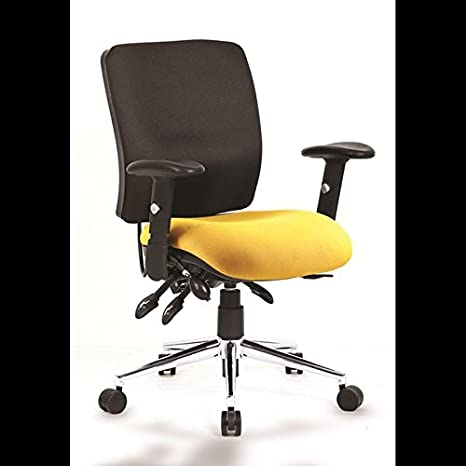 Luxury Office Chair Yellow/black med Ergonomic chiropractic lumbar ch1