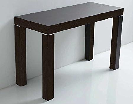 Arredinitaly Table Console Extensible de 90 x 50 à 90 x 300 cm (jusqu'à 12 fois) Chêne moro à poro ouvert.