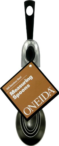 Oneida 4 Piece Measuring Spoon Set, Stainless Steel/Black (Spoon Ring Oneida compare prices)