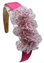 Girls Chiffon Flower Cluster Headband (Hot Pink Band/White & Pink Dot)