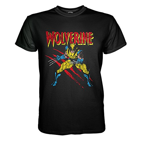 King of Merch - T - shirt per gli uomini - Marvel Universe Comics Wolverine Scratches James Howlett X-Men Hulk Captain America Spiderman Thor Iron Man Flash Avengers Superman Kingpin Superheld Schwarz M