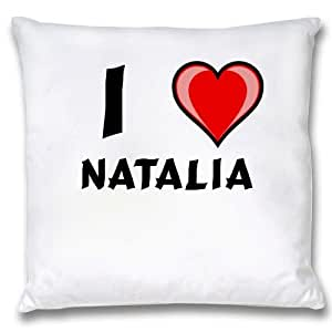 Amazon.com: White Cushion Cover with I Love Natalia (first name