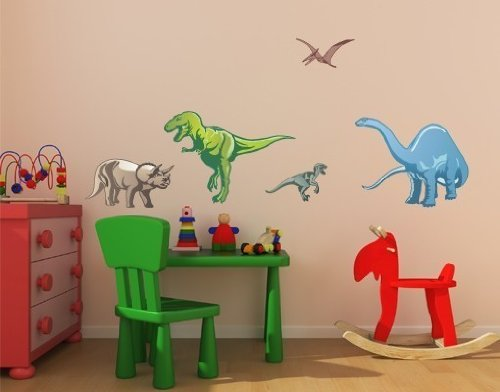 Style and Apply Colorful Dino Wall Decal Set