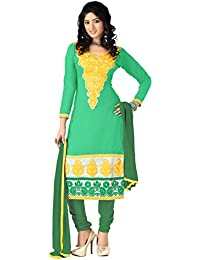 Yehii Semi Stitched Salwar Suit For Women Free Size Party Wear Dress Material Green | Chanderi , Cotton , Chiffon...