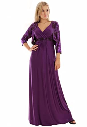 Long Summer Party Holiday Maxi Dress Empire Style Deep Purple UK Sizes 10 - 12