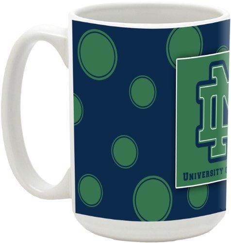 Ncaa Notre Dame 15-Ounce Polka Dots In Colors Ceramic Mug