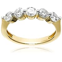 10k White or Yellow Gold Round 5-Stone Ring (1 cttw, H-I Color, I2-I3 Clarity)