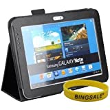 Bingsale® Samsung Galaxy Note 10.1 inch tablet Leather Case Cover with Stylus Holder for New 2012 16G 32G 3G 4G Wifi N8000 N8010 + Bingsale wristband Armband (black)