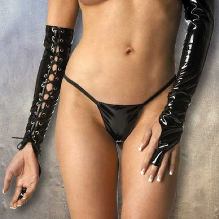 Patent PVC Lace Up Finger Gloves Pair Adjustable in Black One Size