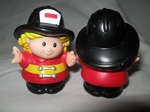 Fisher Price Little People Rare Fireman Woman Cheryl Fire Truck House Station Fighter Red Coat 1998 OOP - 1