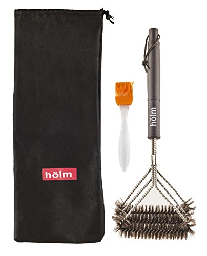 Holm Triple Bristled Stainless Steel Wire Grill Brush with 18-Inch Handle and Basting Brush, Black (Wire Grill Brush compare prices)
