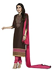 Sree Impex Women Heavy Cotton Semi Stitched Salwar Suit Dress Material (SI-SK-42_Brown_Free Size)