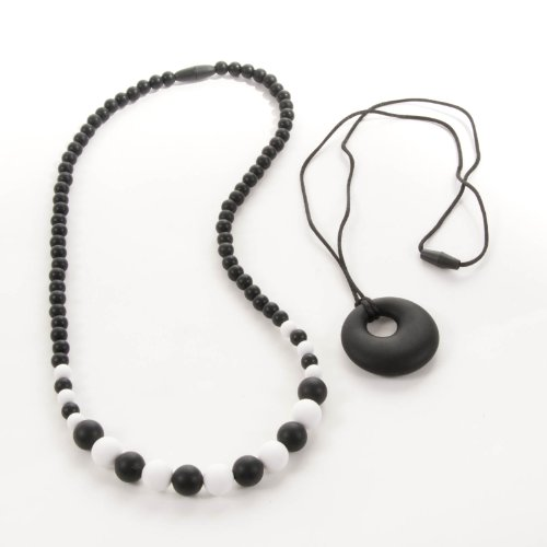 Sassy Baby Beads Mommy And Baby Silicone Chew Teething Beads Necklace - Polka Dots (Black)