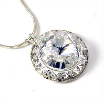 Clear 20mm Round Crystal Necklace Made with Swarovski Elements