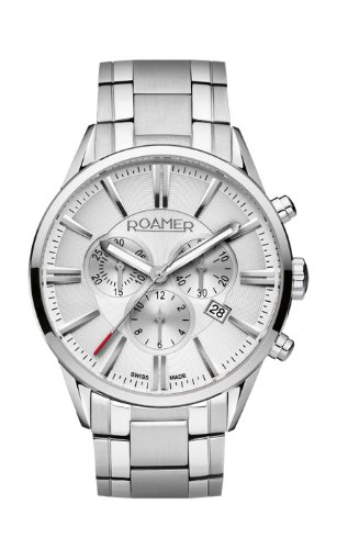 Roamer Superior Men's Quartz Watch with White Dial Chronograph Display and Silver Stainless Steel Bracelet 508837 41 15 50