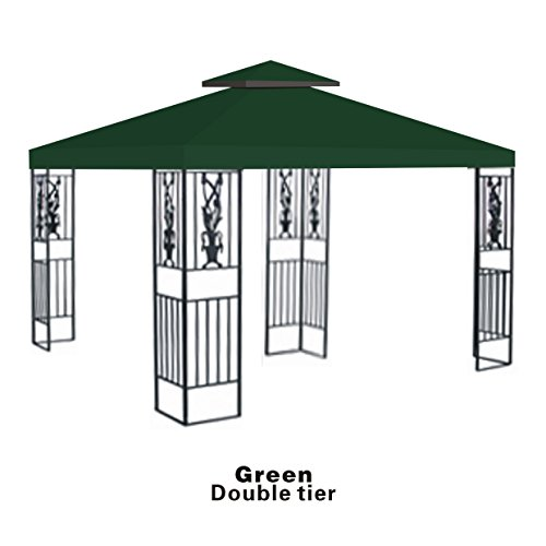 Replacement 10'X10'Gazebo Canopy Top Patio Pavilion Cover Sunshade Plyester Double Tiers-Green front-61058