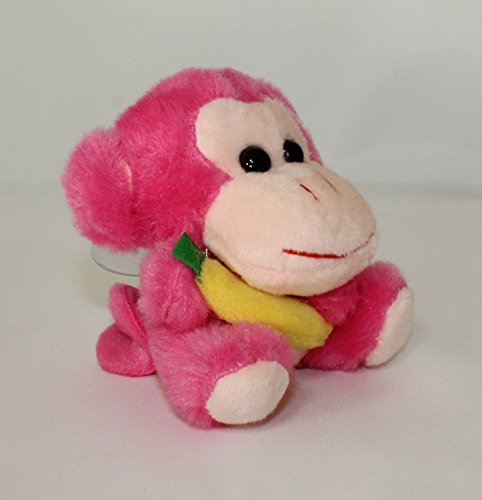 Lucore Happy Monkey Plush Stuffed Animal Keychain - Hanging Toy Doll, Lucky Charm & Ornament (Pink)