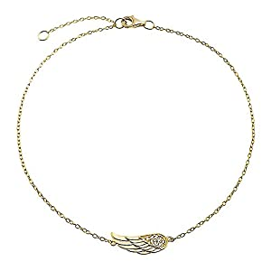 Bling Jewelry Gold Plated CZ Angel Wing Ankle Bracelet Feather Anklet 925 Silver 8.75in