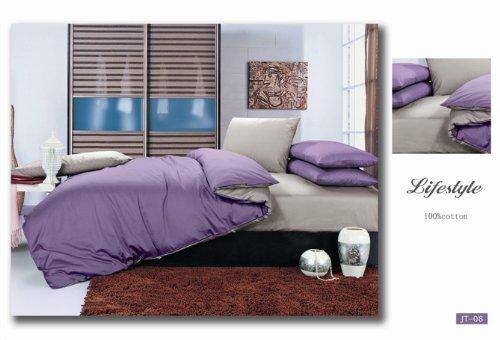 100% Cotton Purple/Grey Reversible Double Duvet Cover Set inc. Sheet