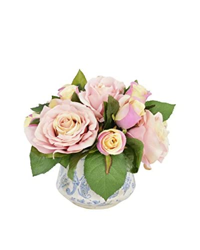 Creative Displays Mixed Soft Assorted Roses In Aged Ceramic Vase, Pink/Blue/Cream,