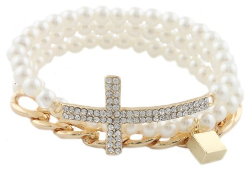 2 Sets Of Of Ladies Cream With Goldtone Bundle Of 3 Piece Iced Out Cross Cuban Link Chain & Lock Beaded Stretch Bracelet