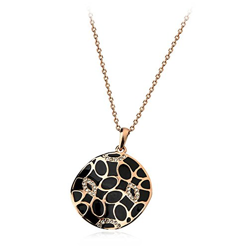Loventer 18K Champagne Gold Plated Black Round Leopard Necklace Pendant For Every Occasion