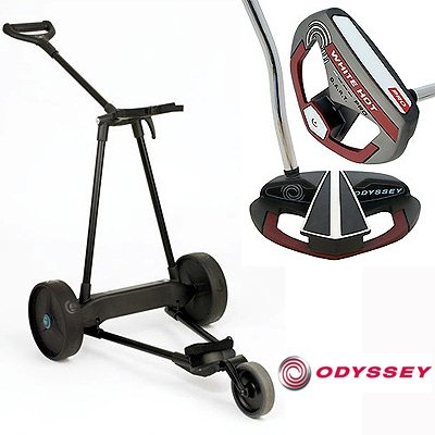 New! Emotion E3 23Lbs Pull Push Electric Motorized 3-Wheel Golf Cart Trolley + New! Odyssey White Hot Pro Dart Putter